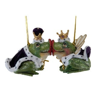 King and Queen Kissing Frogs Mardi Gras Ornaments Set of Two