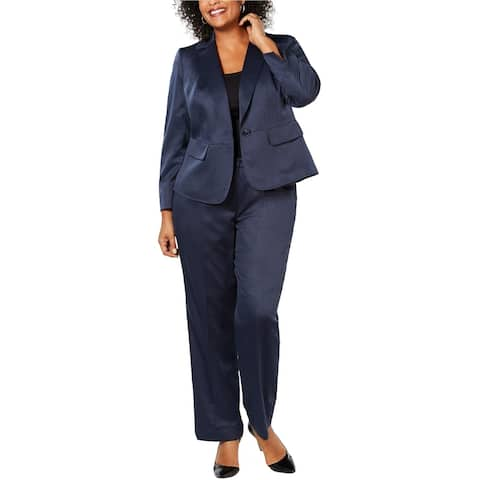 Le Suit Womens One Button Pant Suit, blue, 20W
