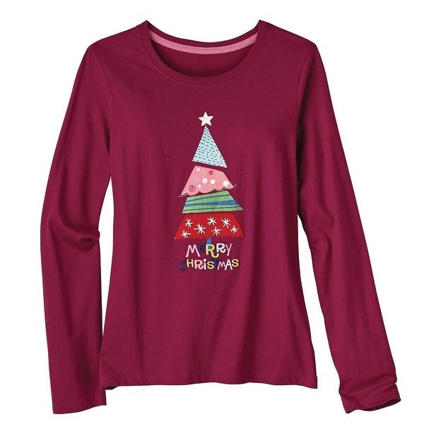 womens long sleeve t shirt appliqued merry christmas tee