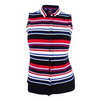 Tommy Hilfiger Women's Striped Blouse - Black Multi