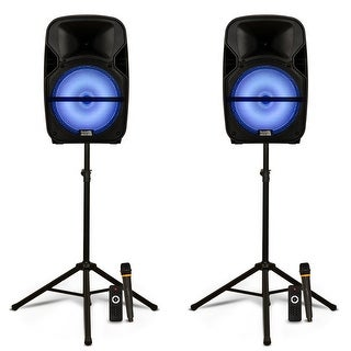 """Acoustic Audio PRTY121 Battery Powered 12"""" Bluetooth LED Speakers Mics & Stands"""