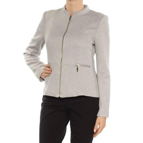 Tommy Hilfiger Gray Women's Size 14 Mock-Neck Full-Zip Jacket