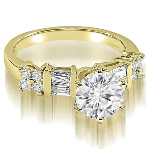 1.50 cttw. 14K Yellow Gold Round and Baguette cut Diamond Engagement Ring