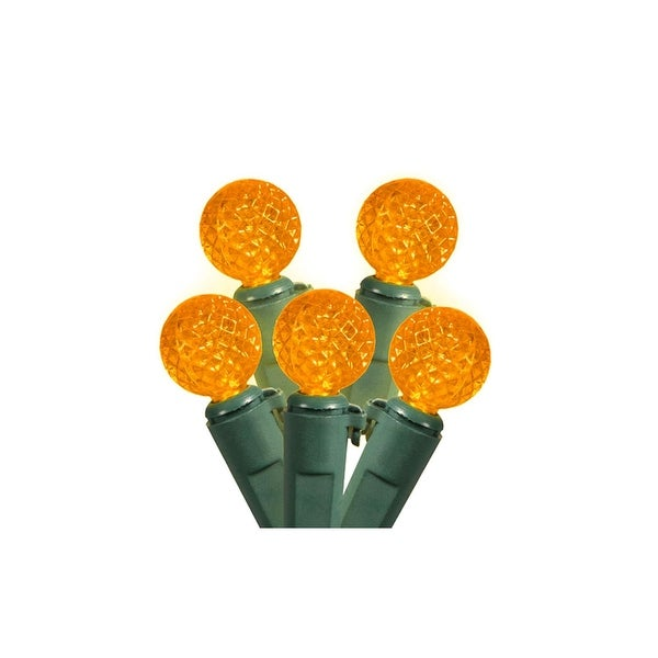 """Set of 50 Amber Yellow LED G12 Berry Christmas Lights 4"""" Bulb Spacing - Green Wire"""