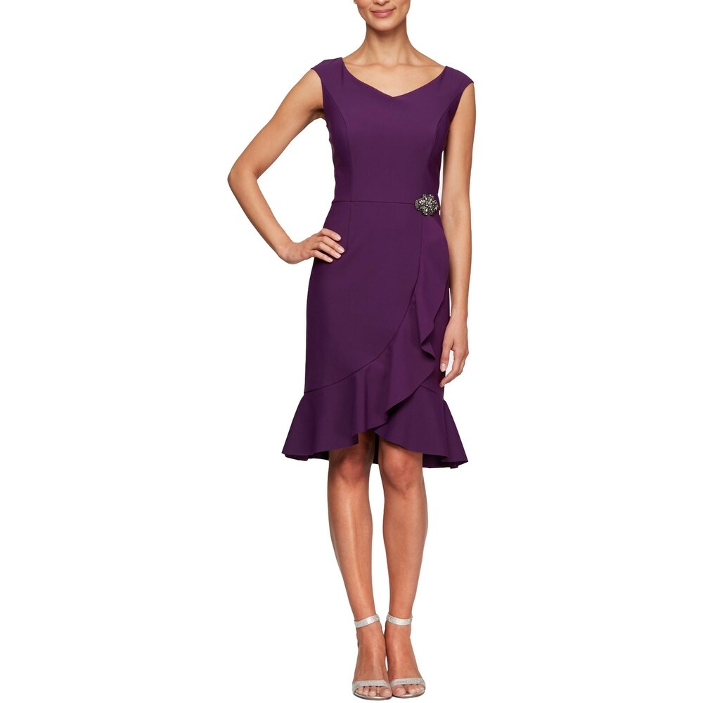 Alex Evenings Womens Cocktail Dress Ruffled Embellished - Sum Plum