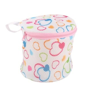 Household Polyester Heart Pattern Underwear Bra Meshy Zippered Washing Bag