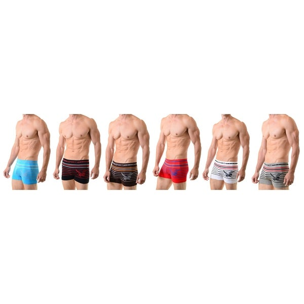 Men's Classic Seamless Boxer Briefs Shorts Shorts Underwear  6-Pack Pattern Pegasus(One Size)