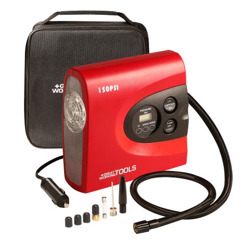 Tire Inflator Air Compressor Pump, Digital Automatic Portable 12V DC Car Bike - Red