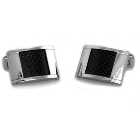 Classic Men's Cuff Links w/ Carbon Fiber Inlay