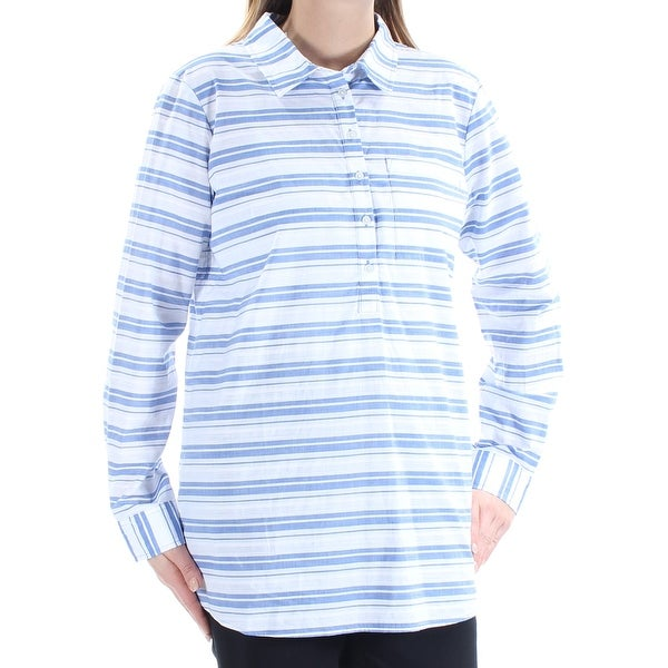 d8f11d8df6e Shop TOMMY HILFIGER $70 Womens New 1310 Blue Striped Cuffed Collared Tunic  Top L B+B - Free Shipping On Orders Over $45 - Overstock - 22431312