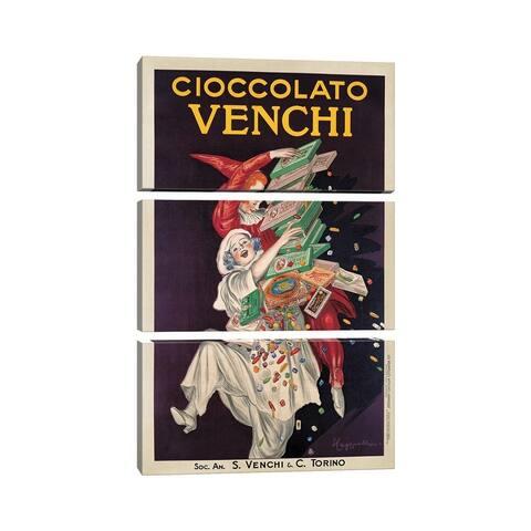 """iCanvas """"Cioccolato Venchi"""" by Leonetto Cappiello 3-Piece Canvas Wall Art Set"""