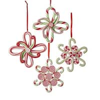 Club Pack of 24 Red and Green Christmas Themed Candy Snowflake Design Ornaments 4""