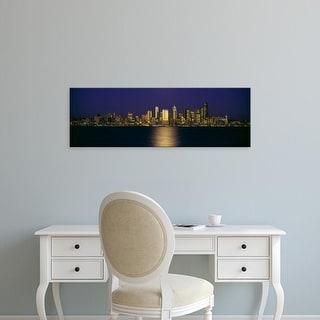 Easy Art Prints Panoramic Images's 'Skyscrapers, Elliott Bay, Seattle, King Washington State' Premium Canvas Art
