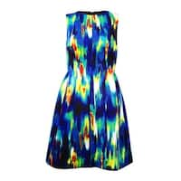 Calvin Klein Women's Infrared Print A-Line Scuba Dress - lagoon/citron