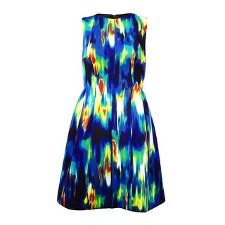 Calvin Klein Women's Infrared Print A-Line Scuba Dress - lagoon/citron