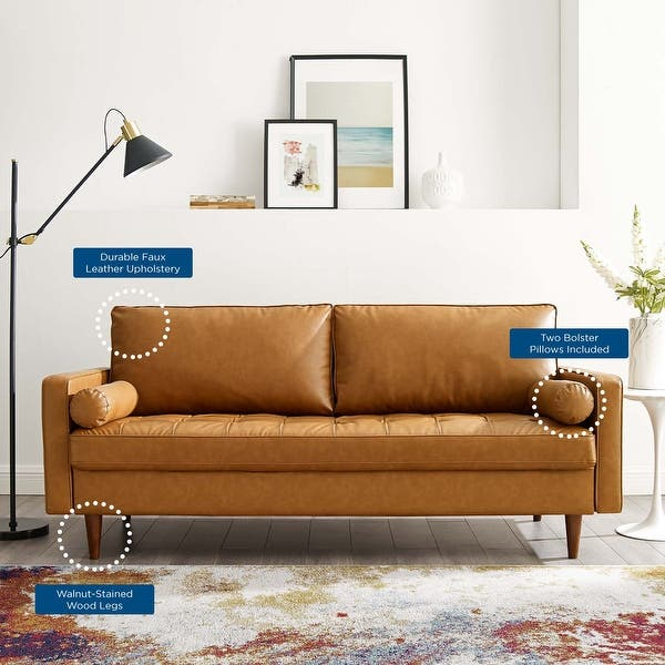 Shop Valour Upholstered Faux Leather Sofa Overstock 29168225