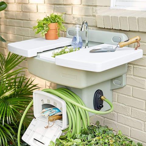 Modern Home Wall Mounted Outdoor Garden Sink w/Hose Holder - No Plumbing Required Mountable Outdoor Faucet (Beige) - Standard