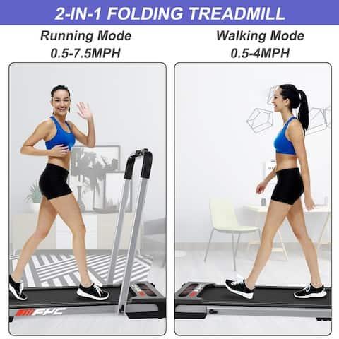 2 in 1 Under Desk Treadmill 2.5 HP Folding Treadmill for Home