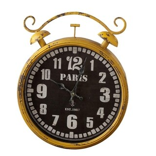 "16"" Yellow and Black ""Paris"" Printed Round Wall Clock Distressed Finish"