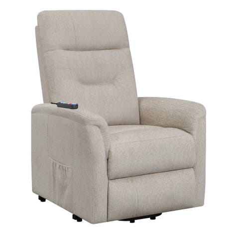 Fabric Power Lift Massage Chair with Tufted Stitched Accent, Beige
