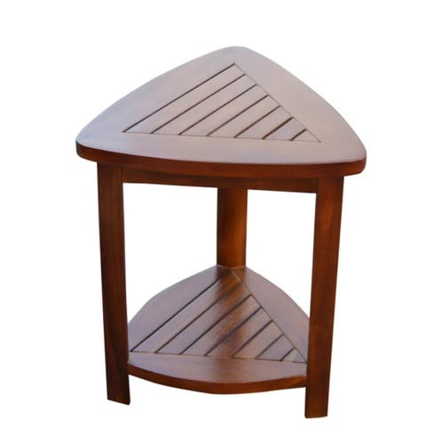 ALA TEAK Corner Teak Wood Bath Spa Shower Stool Corner Table Bench Stool Fully Assembled