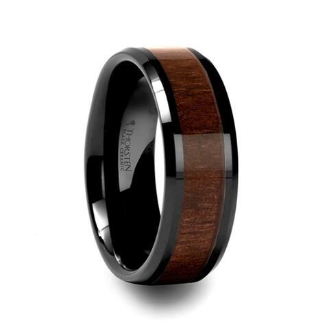 YUKON Beveled Black Ceramic Ring with Black Walnut Wood Inlay 8mm