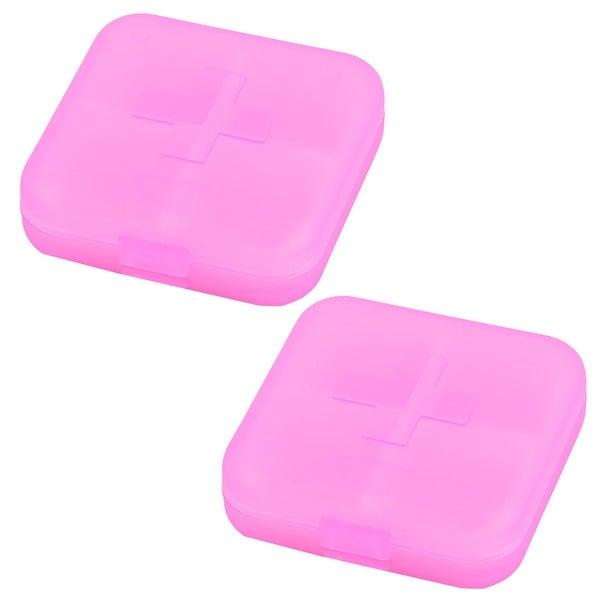 Travel Plastic 4 Compartments Pill Capsule Organizer Storage Box Case Pink 2pcs