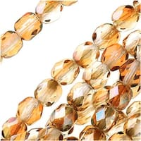Czech Fire Polished Glass Beads 4mm Round 1/2 Coat Luster Celsian (50)