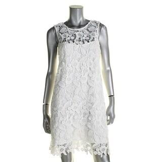 WAYF Womens Casual Dress Lace Overlay Sleeveless - L