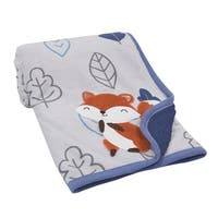 Lambs & Ivy Little Campers Blue/Gray Soft Luxury Minky Fox with Leaves Baby Blanket