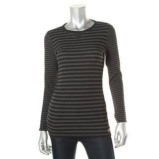 Calvin Klein Performance Womens Thermal Striped Pullover Top