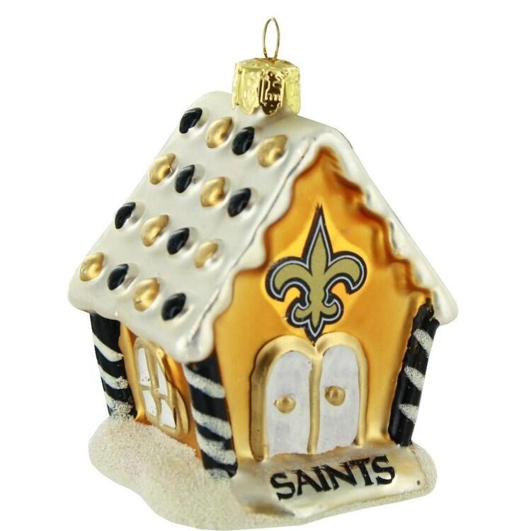 New Orleans Saints Christmas Ornaments.New Orleans Saints 3 5 Blown Glass Gingerbread House Ornament