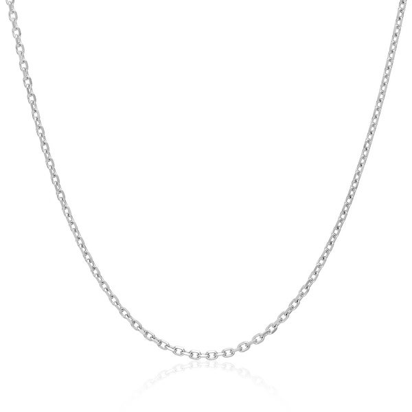 Mcs Jewelry Inc 14 KARAT SOLID WHITE GOLD CABLE CHAIN NECKLACE (1mm)