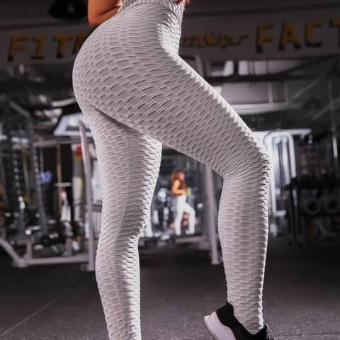 Women Tik Tok Hip-Turned Folds Elastic High-Waist Leggings