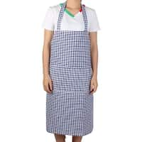 Kitchen Housework Pastoral Style Grid Pattern Cooking Baking Apron Dark Blue