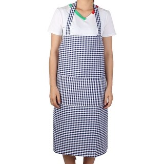 Kitchen Housework Pastoral Style Grid Pattern Cooking Baking Apron Dark Blue