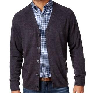 Weatherproof NEW Blue Men Size XL Heathered Marled-Knit Cardigan Sweater