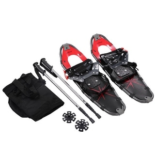 Costway 27'' RED All Terrain Sports Snowshoes + Walking Poles + Free Carrying Bag