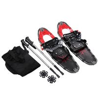Costway 27'' RED All Terrain Sports Snowshoes + Walking Poles + Free Carrying Bag - n/a