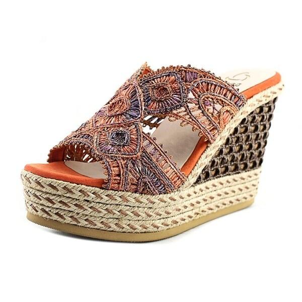 Kanna KV7267 Women Open Toe Canvas Orange Wedge Sandal