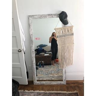The Gray Barn Wilset Distressed Aged White Floor Mirror