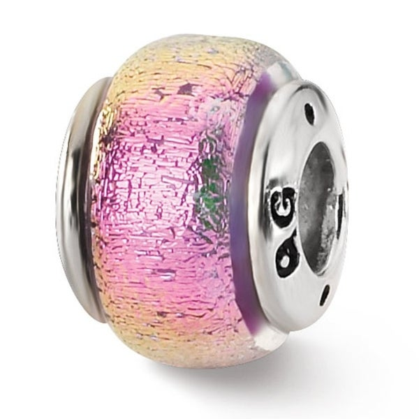 Sterling Silver Reflections Pink Dichroic Glass Bead (4mm Diameter Hole)