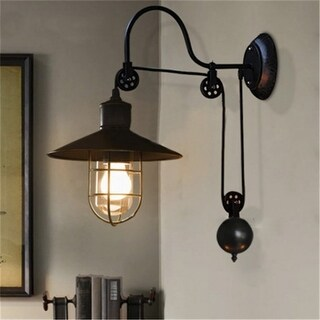 Industrial 1-Light Wall Light with Pulley, Black
