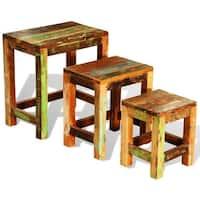 vidaXL Reclaimed Wood Set of 3 Nesting Tables Vintage Antique-style