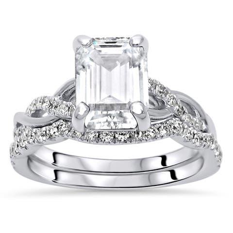14k White Gold 1.75ct Emerald cut Moissanite 2/5ct Diamond Engagement Ring Bridal Set