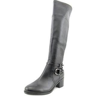 Marc Fisher Kierra Women Round Toe Leather Black Knee High Boot