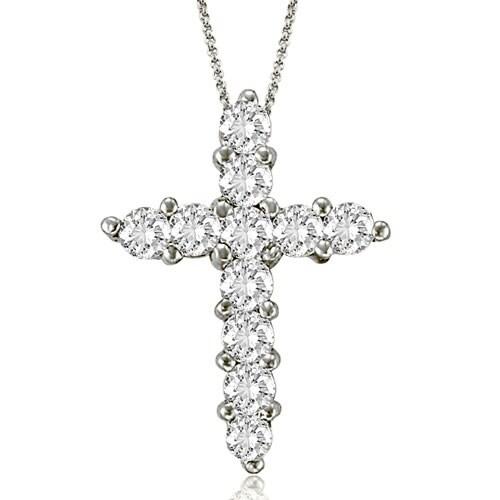 2.00 cttw. 14K White Gold Round Cut Diamond Big Cross Pendant
