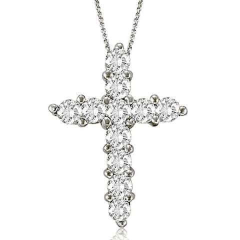 2.00 CT Round Cut Diamond Big Cross Pendant in 14Kt white Gold