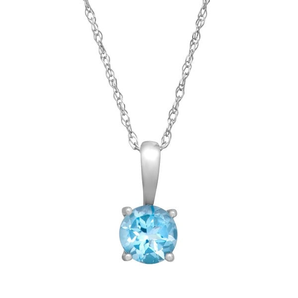 9dbfe728369aa4 1/2 ct Natural Swiss Blue Topaz Pendant Necklace in 10k White Gold, 16