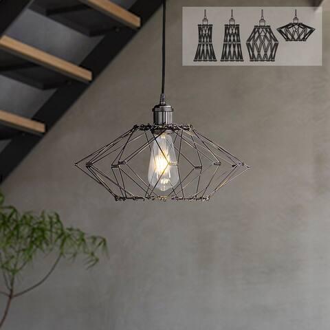 1-Light Adjustable Lantern DIY Pendant Light with Metal Wire Cage